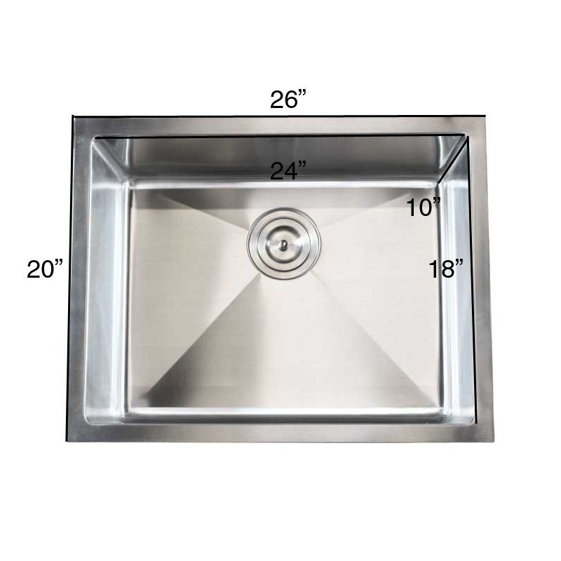 Stainless Steel (Silver) Undermount Single Bowl 15mm Kitchen Sink (26 Stainless Steel Kitchen Single Bowl Sink 15mm)