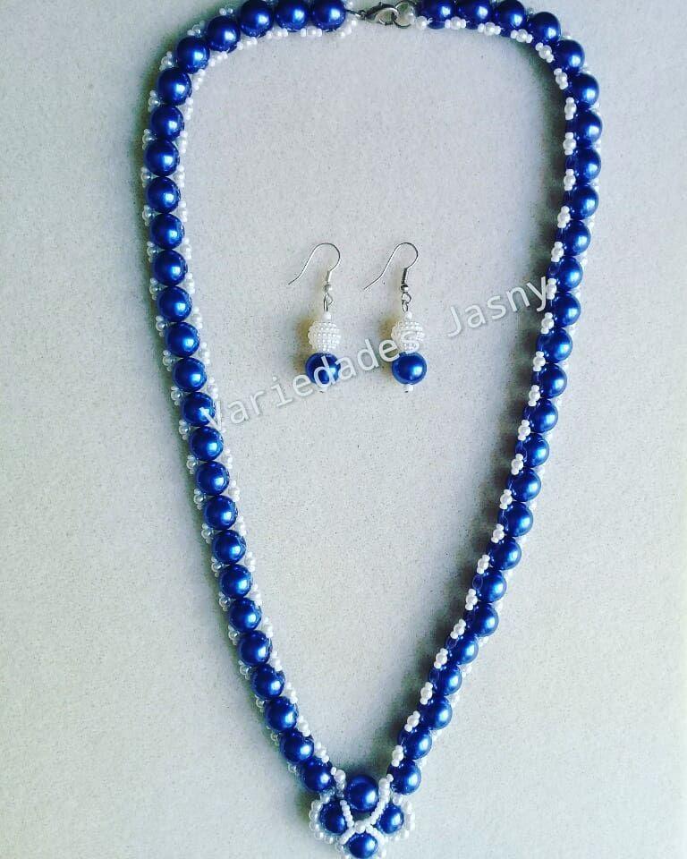 091d5270ec31  collar en v  perlas  azul y  blanco  mostacilla  aretes  moda  estilo   belleza  accesorios  hechoamano  queregalar. Envío a toda Colombia.