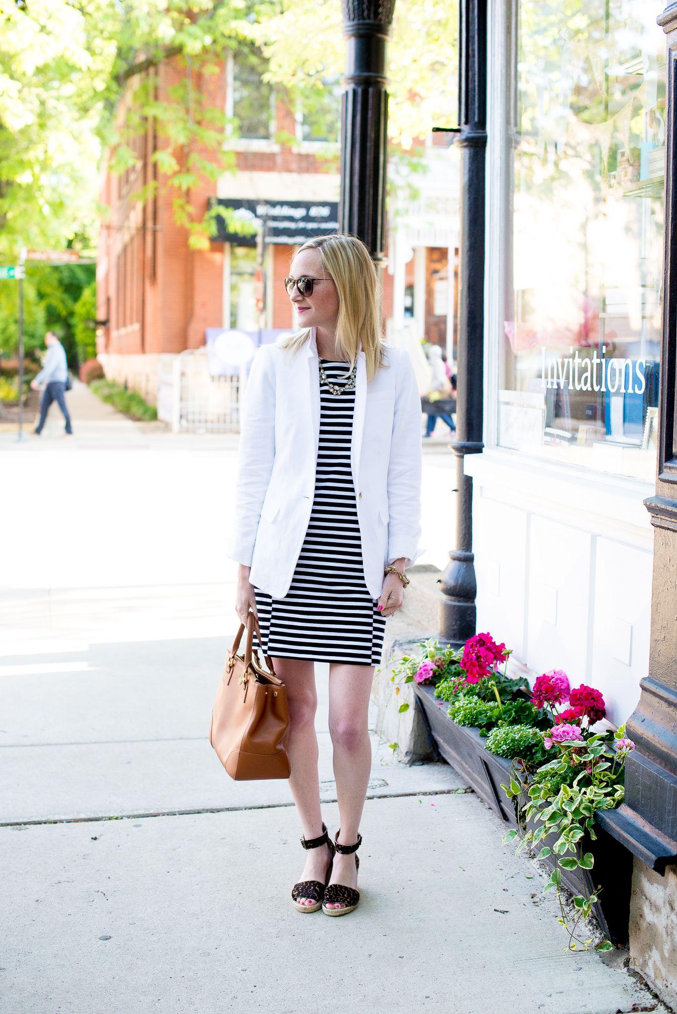 striped dress, long blazer, espadrille sandals