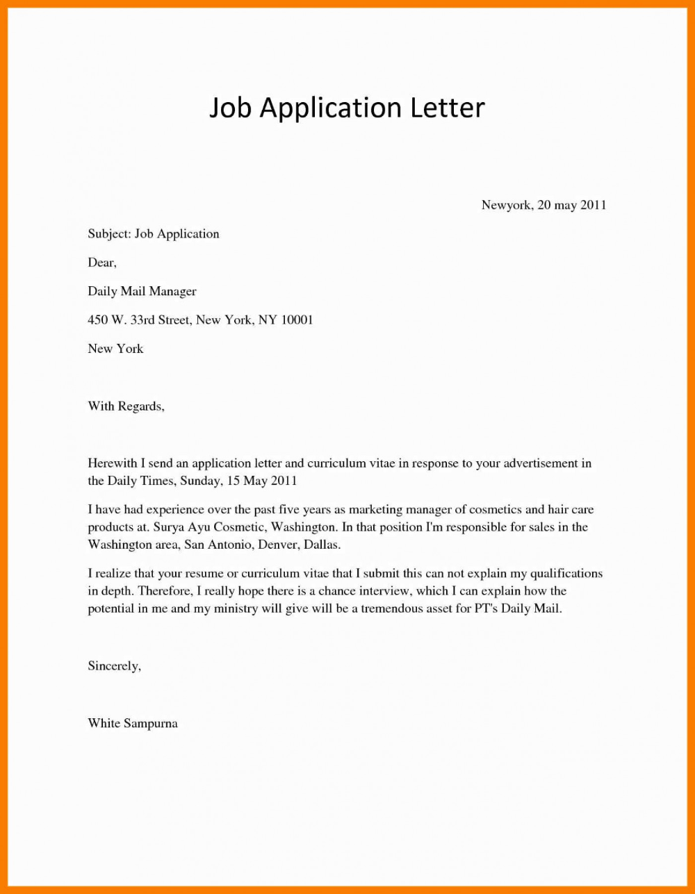 011 Email Covering Letter For Job Application Sample