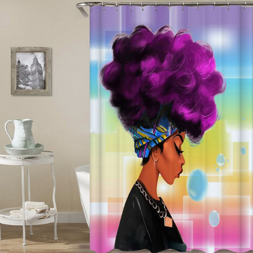 Purple Afro Shower Curtain Home Decorations Afro Shower