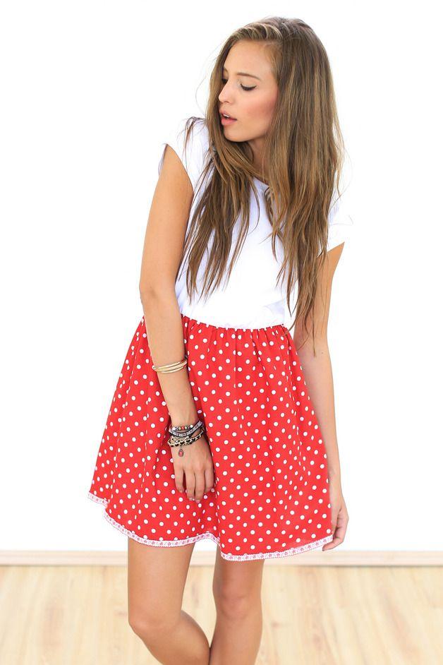 Knielange Kleider - Kleid Annie rot-weiß gepunktet - ein ...