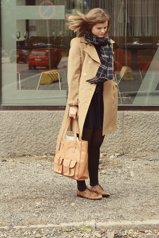 Plaid + trench coat