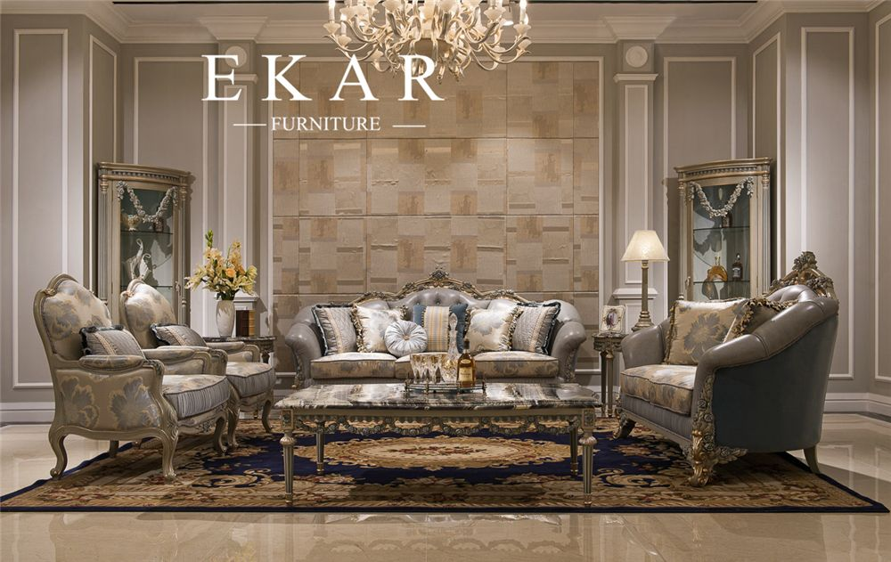 Living Room Furniture Grey Leather And Fabric Sofa Sets/Couch With Big Flower  Pattern,