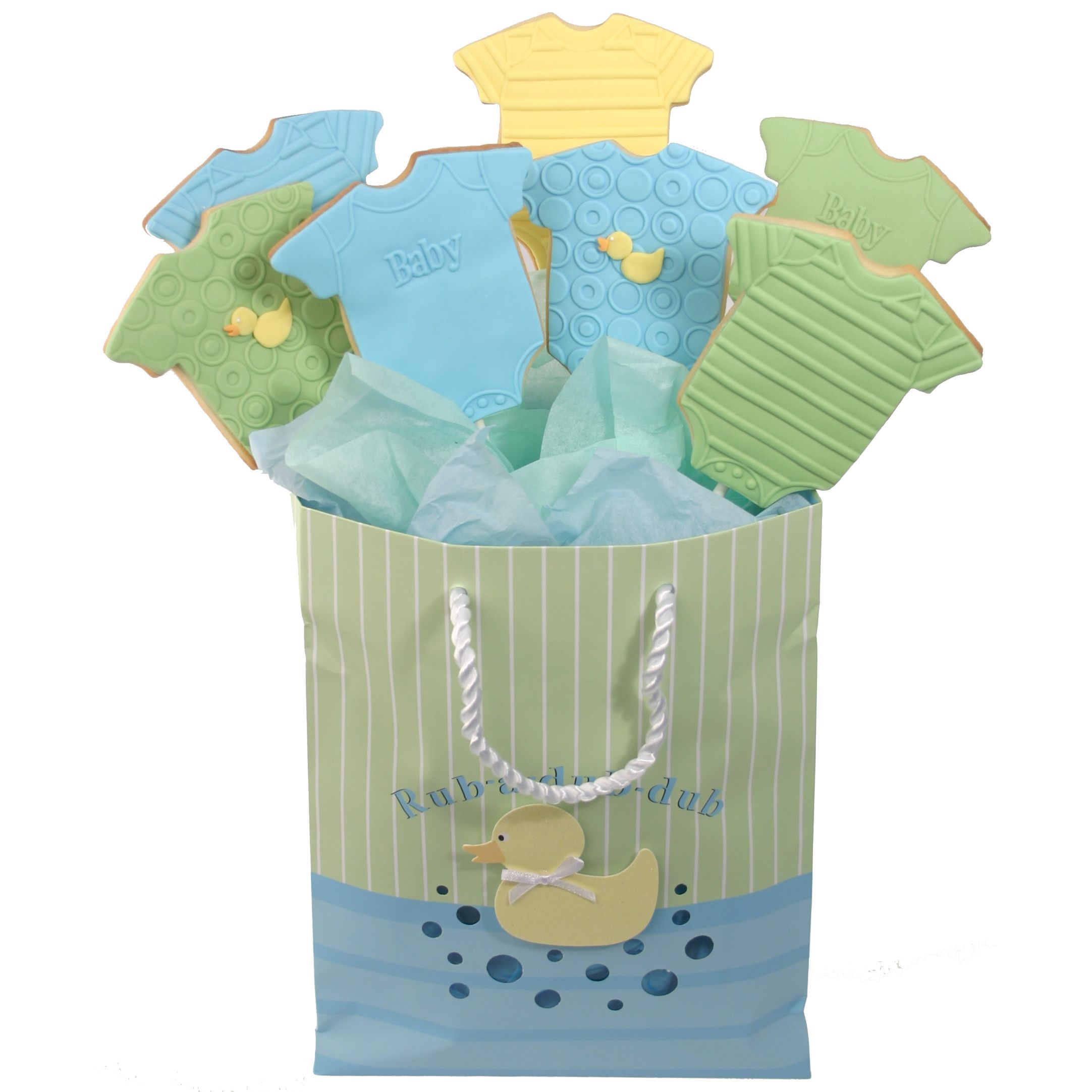 blue and green | Blue and Green Baby Bodysuit Cookie Bouquet