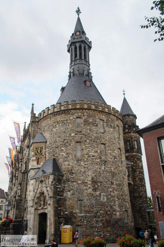 Historic city hall (Rathaus) in the center of Aachen in Germany.