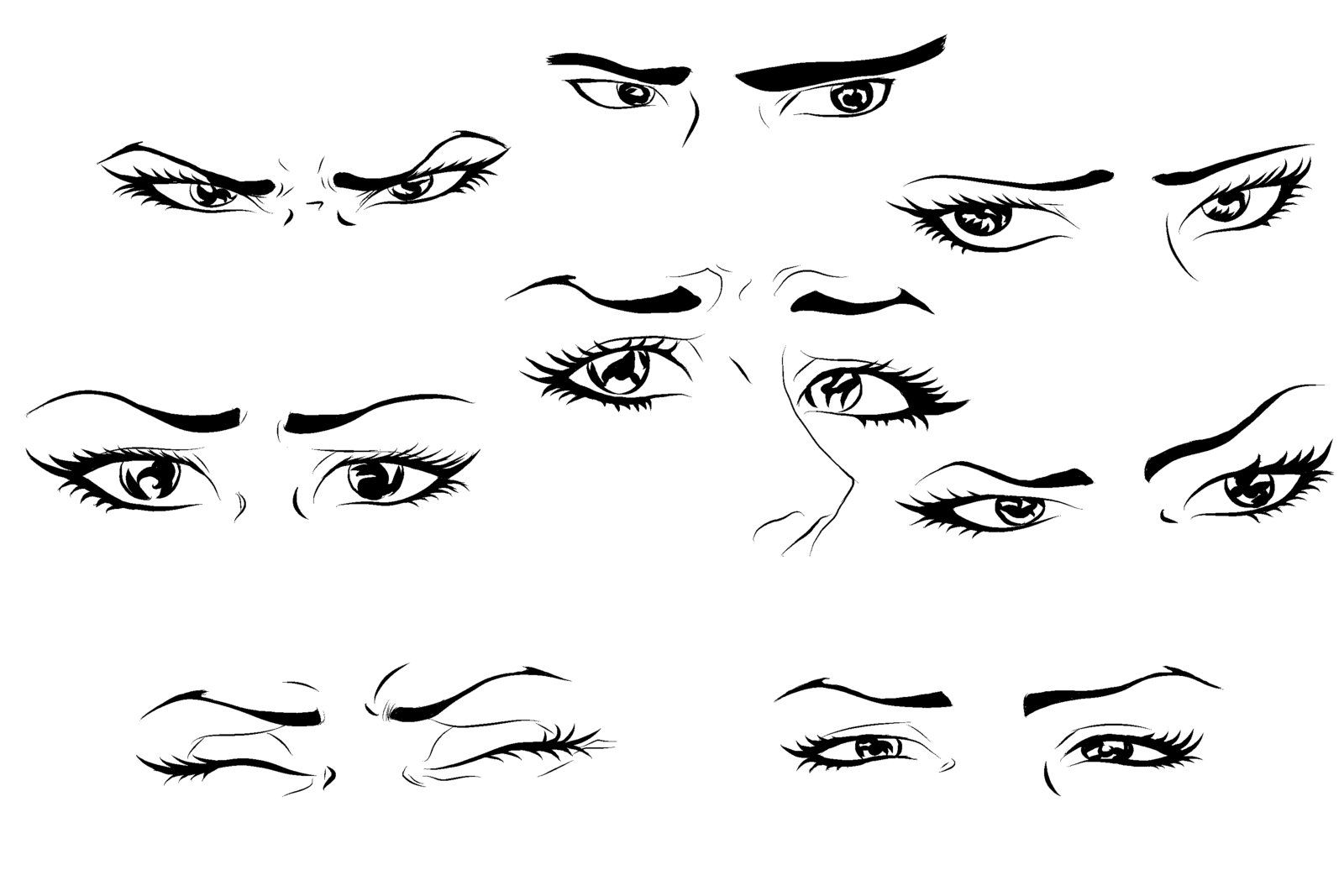 how to draw anime-like eyes