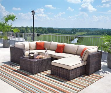 Super Outdoor By Ashley P450 Renway Sectional Seating Set Deck Home Interior And Landscaping Staixmapetitesourisinfo