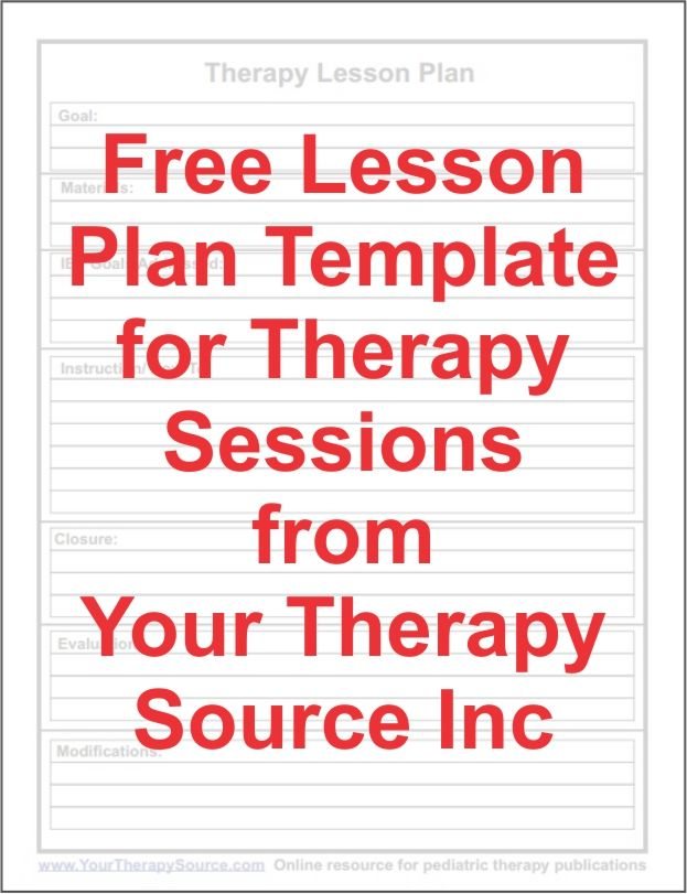 Free Lesson Plan Form For Therapy Sessions Lesson Plan Templates
