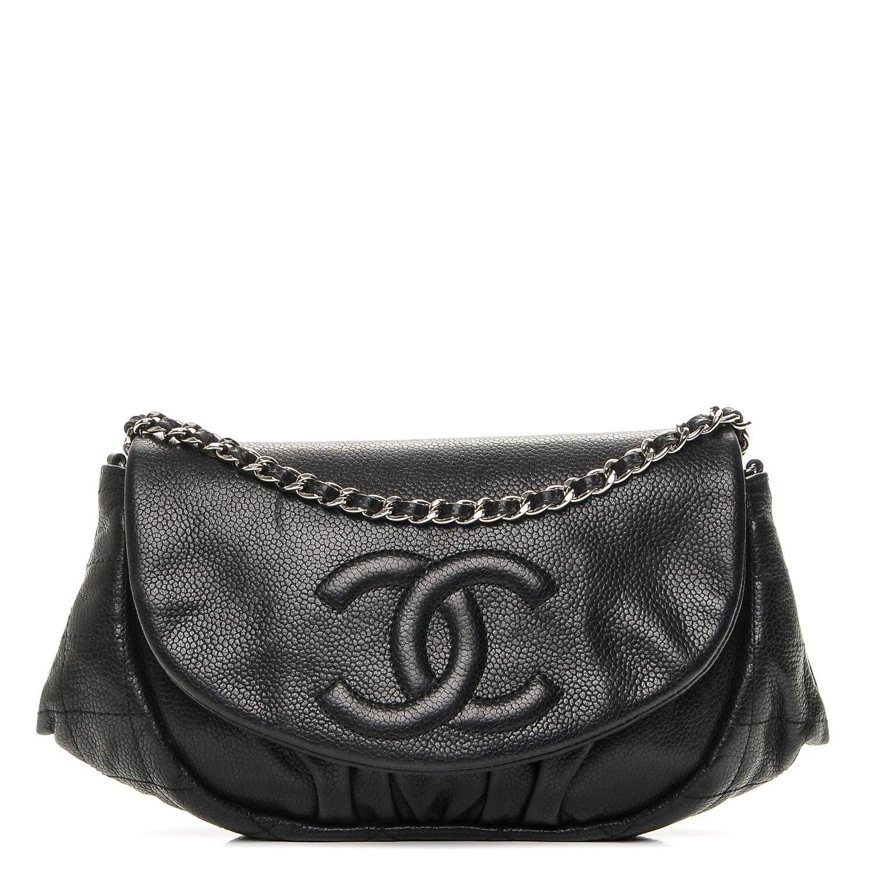 Chanel caviar half moon wallet on chain woc black