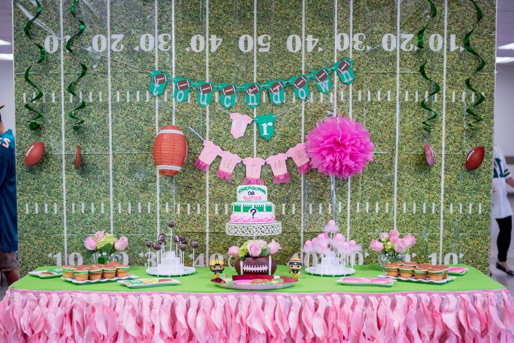 Touchdown Or Tutus Gender Reveal Party Ideas Photo 1 Of 21 Tutus Gender Reveal Gender Reveal Shower Gender Reveal Decorations