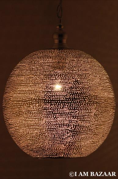 Bollamp Koraa zilver met gaatjes (XL) | Hanglamp