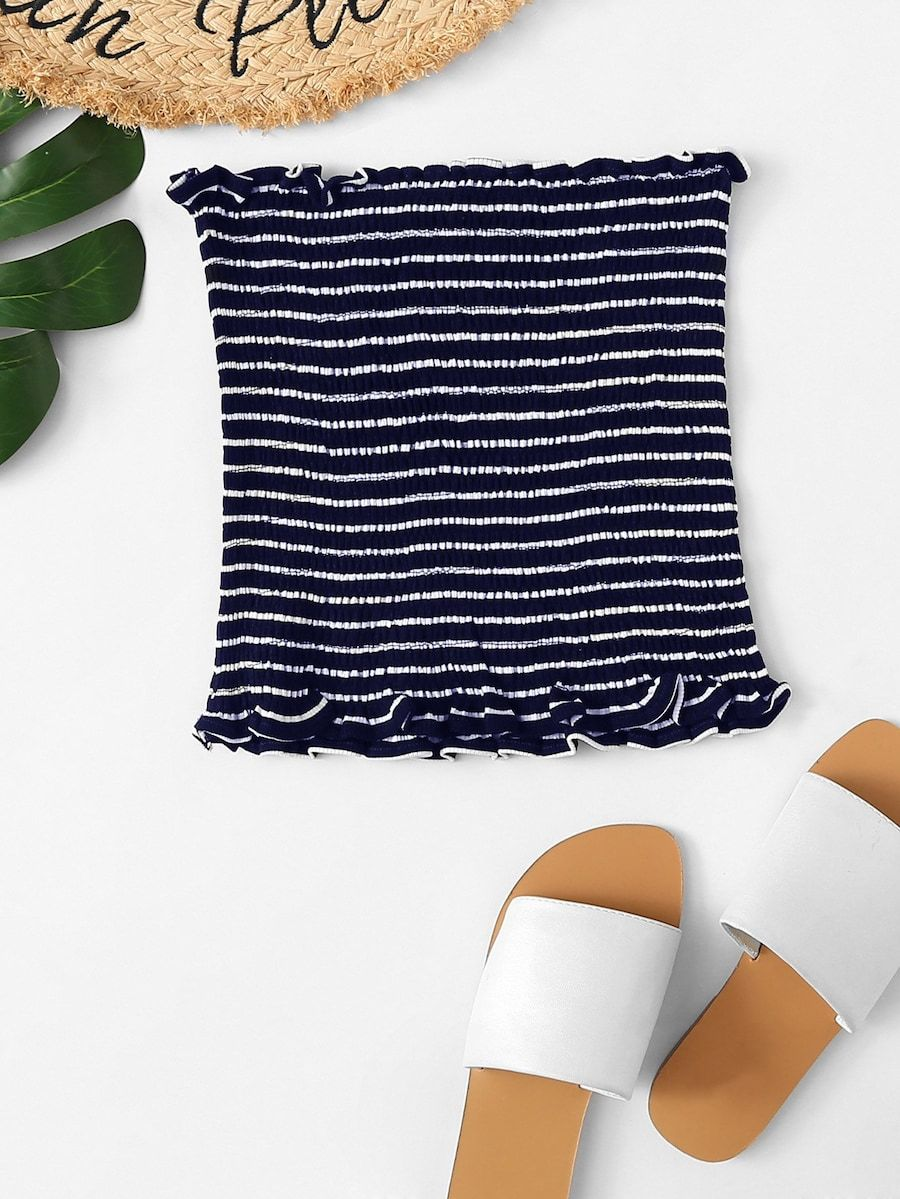 Shein Frill Trim Striped Tube Top #tubetopoutfits