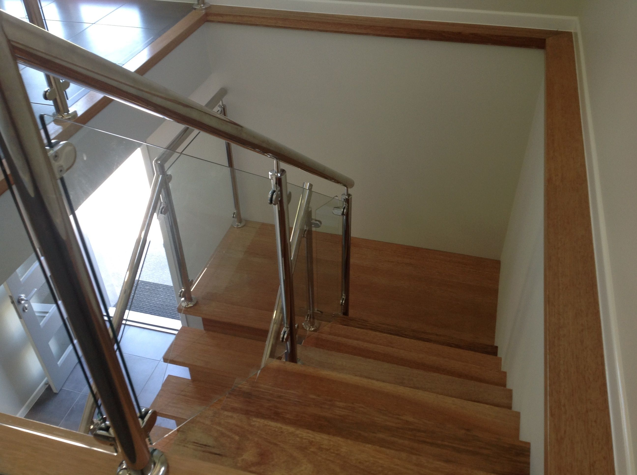 Internal Staircase  Maple Wood For The Stairs With Glass