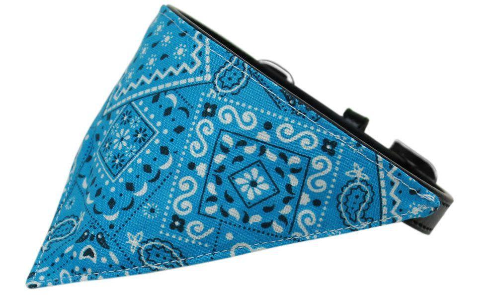 Turquoise Western Bandana Pet Collar Black Size 14