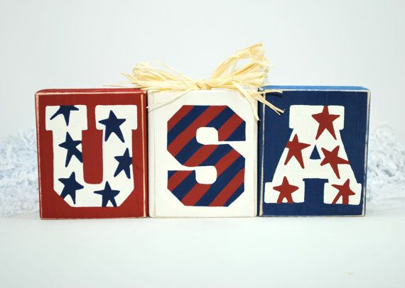 USA Fourth of July Wooden block set - DIY