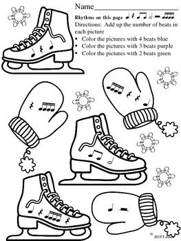 Music Worksheets: Skate into Rhythm {Ice Skates and