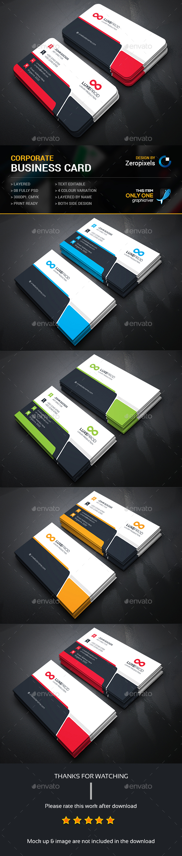 Corporate business card negcios pinterest cartes de visita corporate business card reheart Images