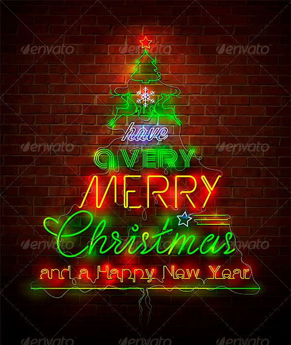 Christmas Neon Sign Against Red Wall