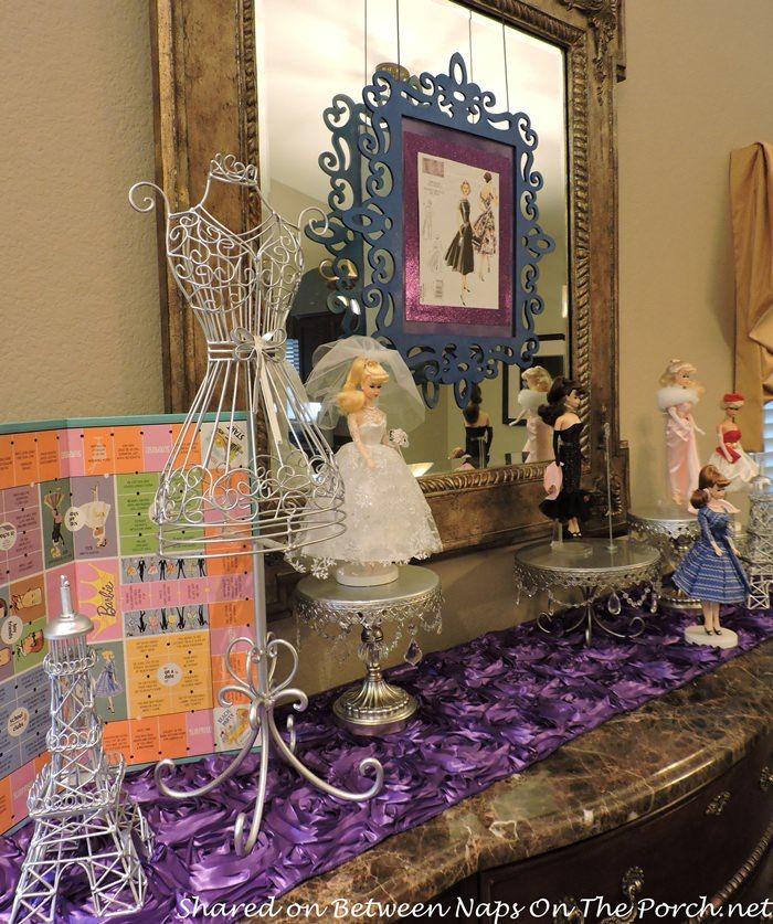 Barbie, reina del baile de fin de curso para la fiesta de cumpleaños de la moda del vintage
