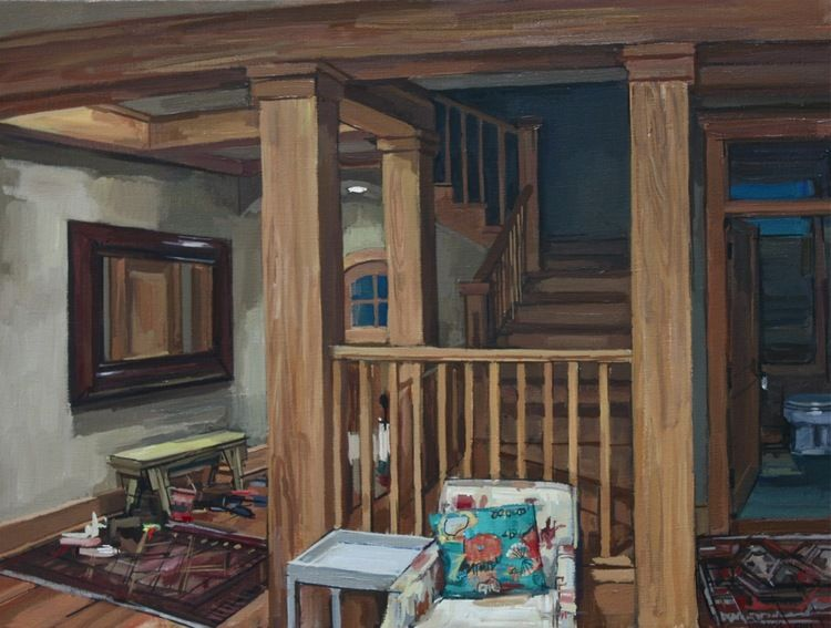 "Francis Sills ~ ""Stairwell"", 2012, oil on linen,  15 x 20 inches"