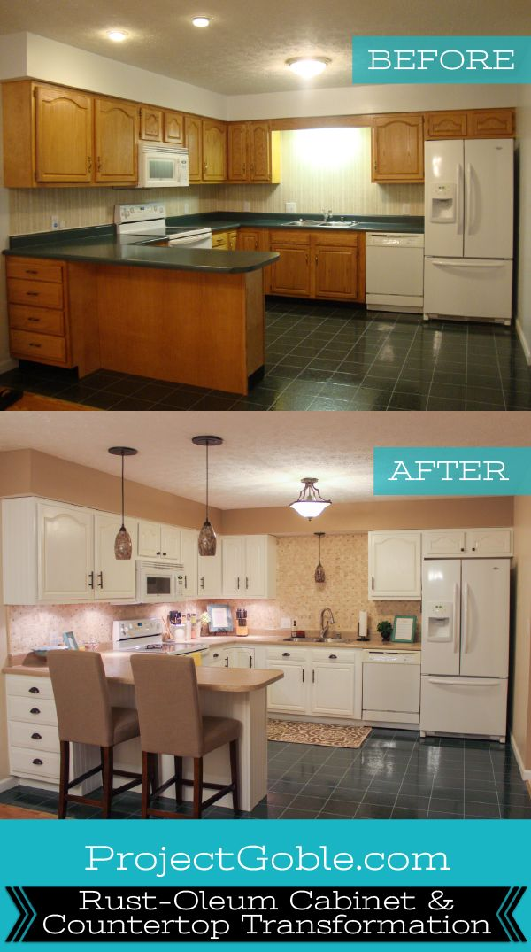 kitchen transformation white cabinets painted counters with white appliances in 2018 home. Black Bedroom Furniture Sets. Home Design Ideas