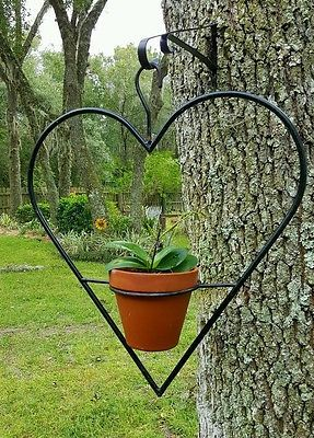 Hanging Planter Plant Pot Holder Huge Forged Wrought Iron Heart