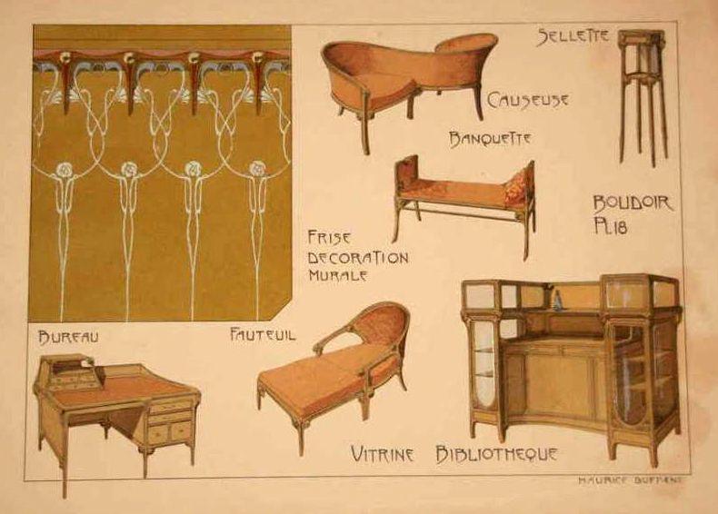 art nouveau lithographie croquis mobilier maurice dufr ne 1906 art nouveau mobilier. Black Bedroom Furniture Sets. Home Design Ideas