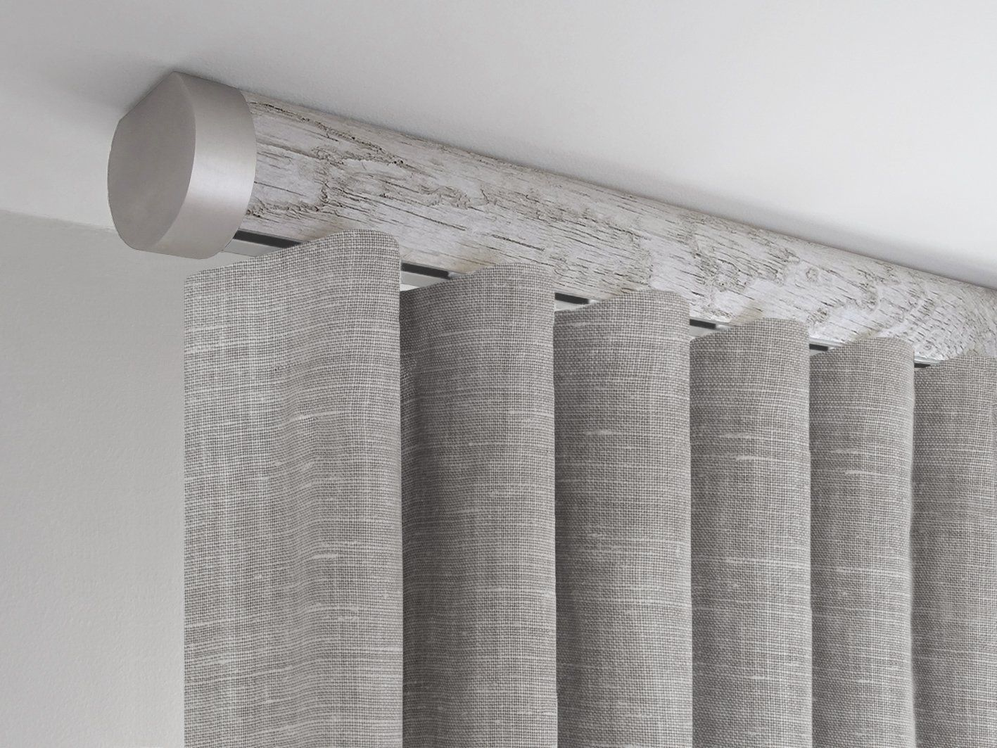 Specialist Tracked Wooden Curtain Pole Ceiling Fixed Pumice Grey