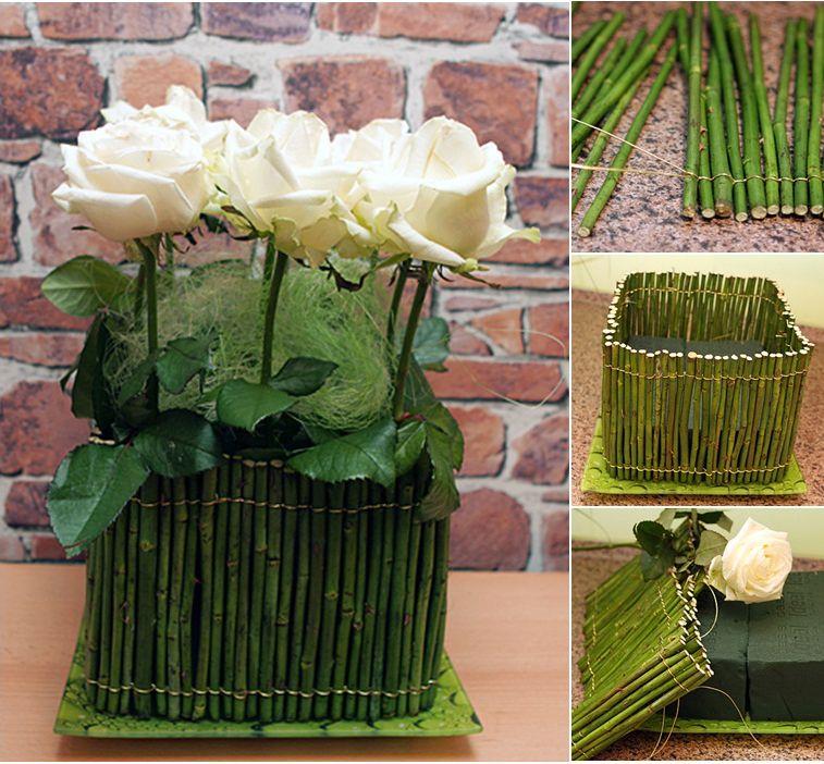 diy flower arrangement tutorial rose stems white roses sponge