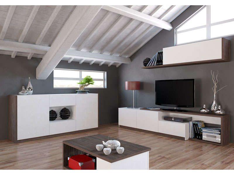 Meubles Tv 3 Portes 1 Tiroir Otawa Coloris Pin Et Blanc Vente De Meuble Tv Et Banc Tv Hi Fi Video