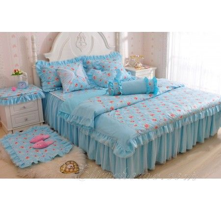 Light Blue Princess Girls Ruffle Bowtie Lace Tulle Bedding Com