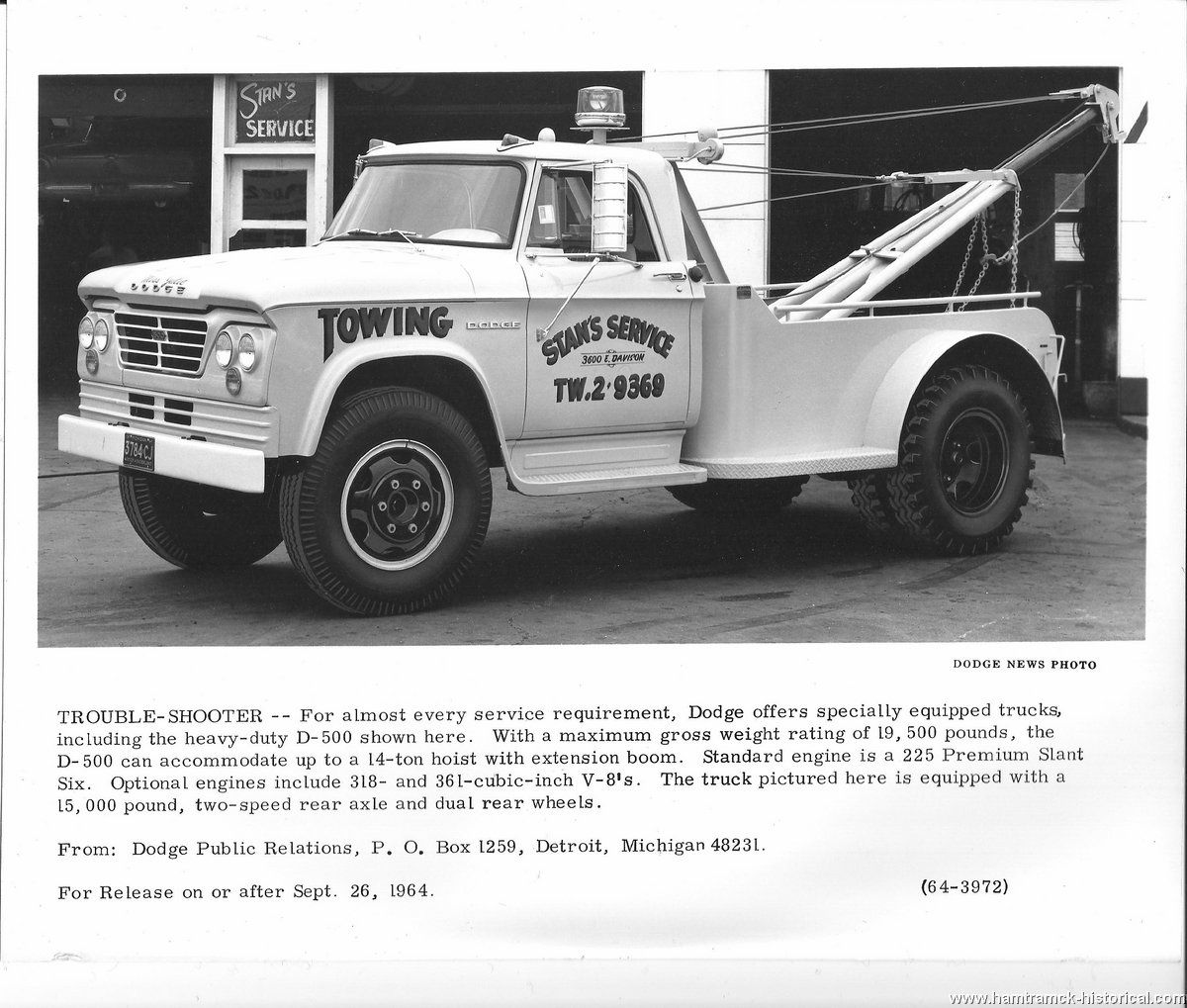 1964 DODGE D500 - Stan's Service www.TravisBarlow.com Towing Insurance & Auto Transporter Insurance for over 30 years