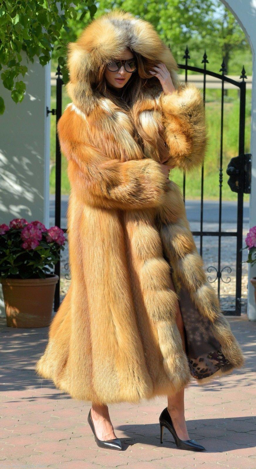 New fire gold fox long fur coat hood clas of chinchilla sable ...