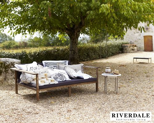 Garden Trends 2013 - Riverdale Fashionable Living Garden  Accessories 'Rockin Romance' -  Outdoor Furniture Wooden Lounge Bench with Riverdale Text Pillows, Riverdale Tray with Many Candles and Lights on the Terrace, Balcony & in the Garden!