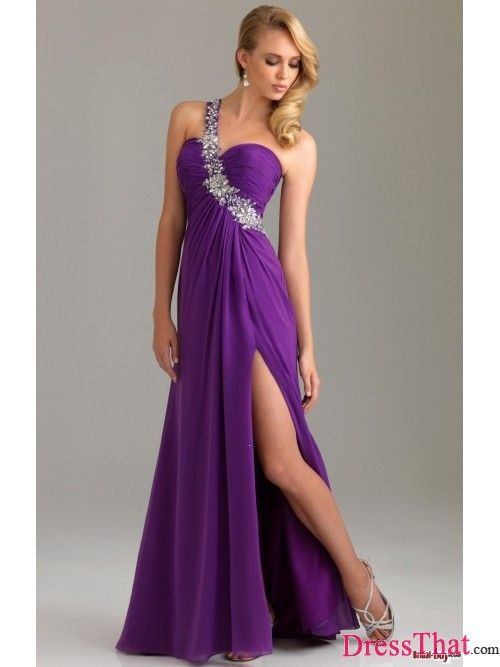2013 Hot Sale Style Long Purple One-shoulder Sweetheart Beading Cheap Prom Dresses/Evening Dresses