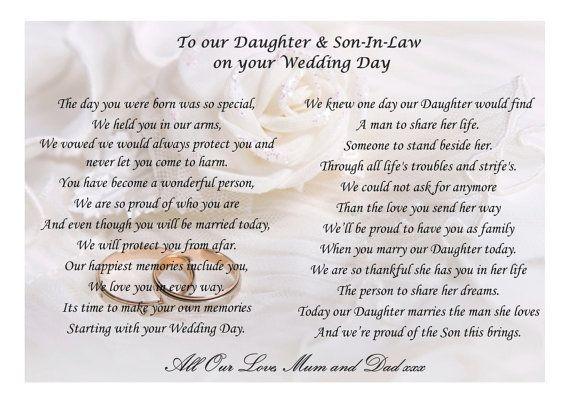 Beautiful Poem For Your Daughter And Son In Law On Their Wedding Day