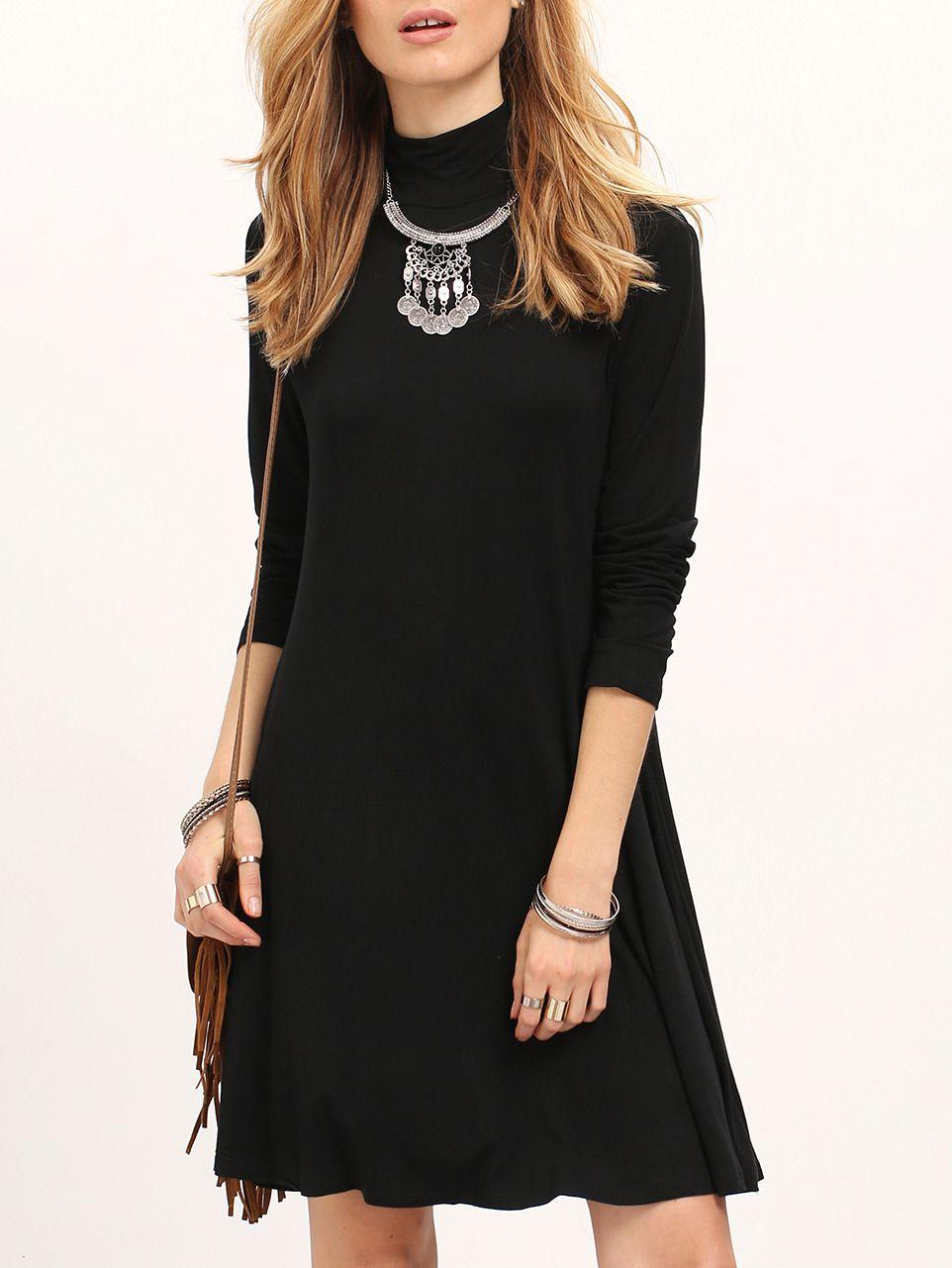 Black Long Sleeve Turtleneck Flare Dress Shein Sheinside Long Sleeve Turtleneck Dress Clothes Short Flare Dress [ 1281 x 962 Pixel ]
