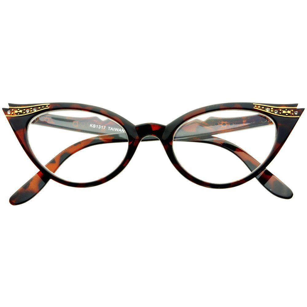 Womens Vintage Inspired Clear Lens Cat Eye Glasses Frames