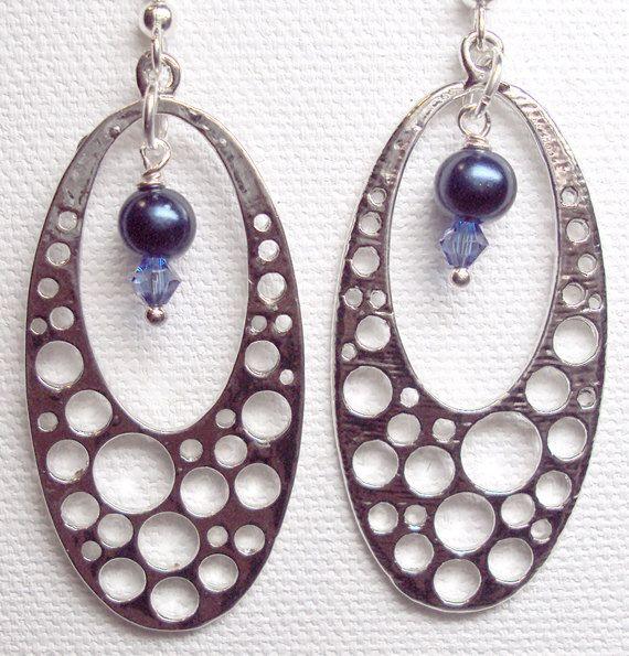 Earrings Dark Blue Glass Pearl Bubble Oval Chandelier Swarovski Sapphire Crystal Silver Plate  FREE SHIPPING. $5.95, via Etsy.