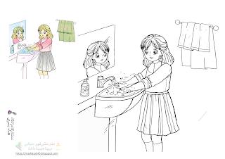 النظافة من الإيمان البنت تنظف يديها رسم وتلوين Color Faith Humanoid Sketch