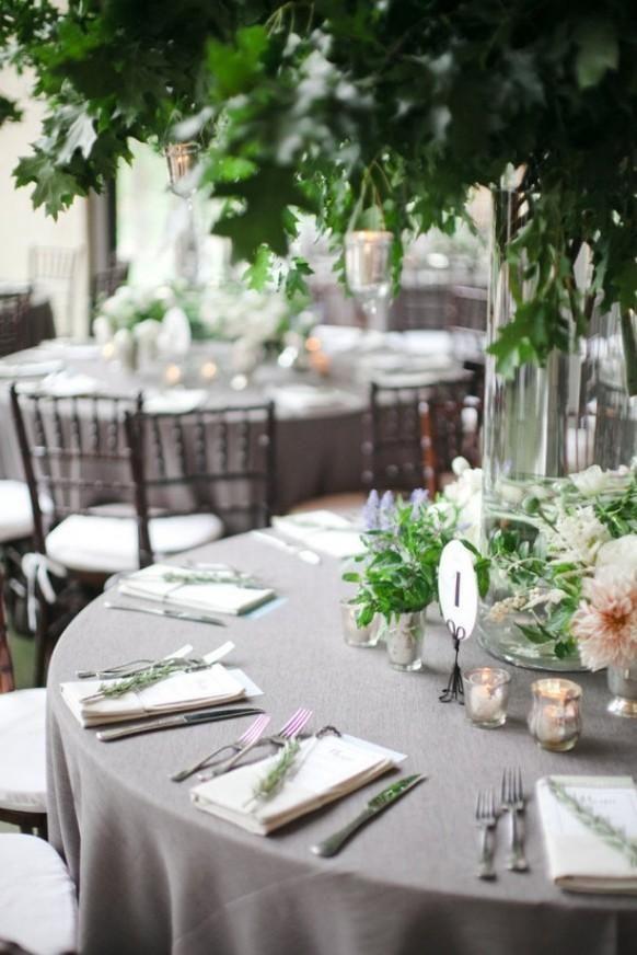 Tischdekoration Hochzeitsdekoration Hochzeit Graue Tischdecke