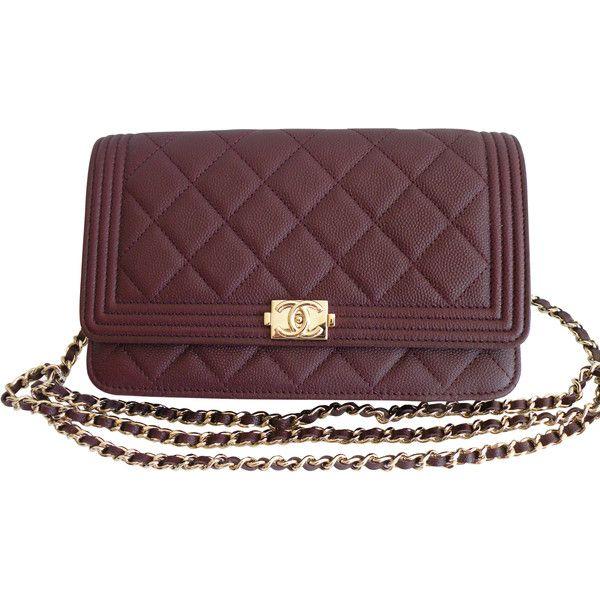 877e1a8bc284 Pre-Owned Chanel Boy Wallet on a Chain Bag WOC Dark Purple Burgundy ...