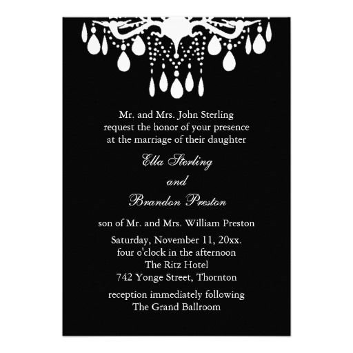 Grand ballroom wedding invitation black chandelier wedding grand ballroom wedding invitation black chandelier mozeypictures Image collections