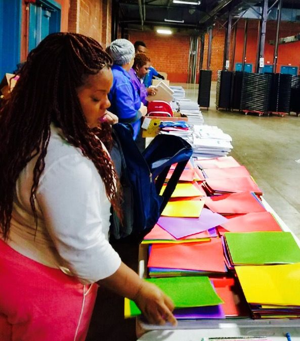 #ReachHigher Pipeline of Promise volunteers prepping backpacks for tomorrow's event.  Join us from 9:00-5:00 at the Centennial Building, State Fair of Texas.  Free Services for College-Bound Students!