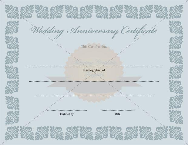 Wedding Anniversary Certificate Template - anniversary certificate template