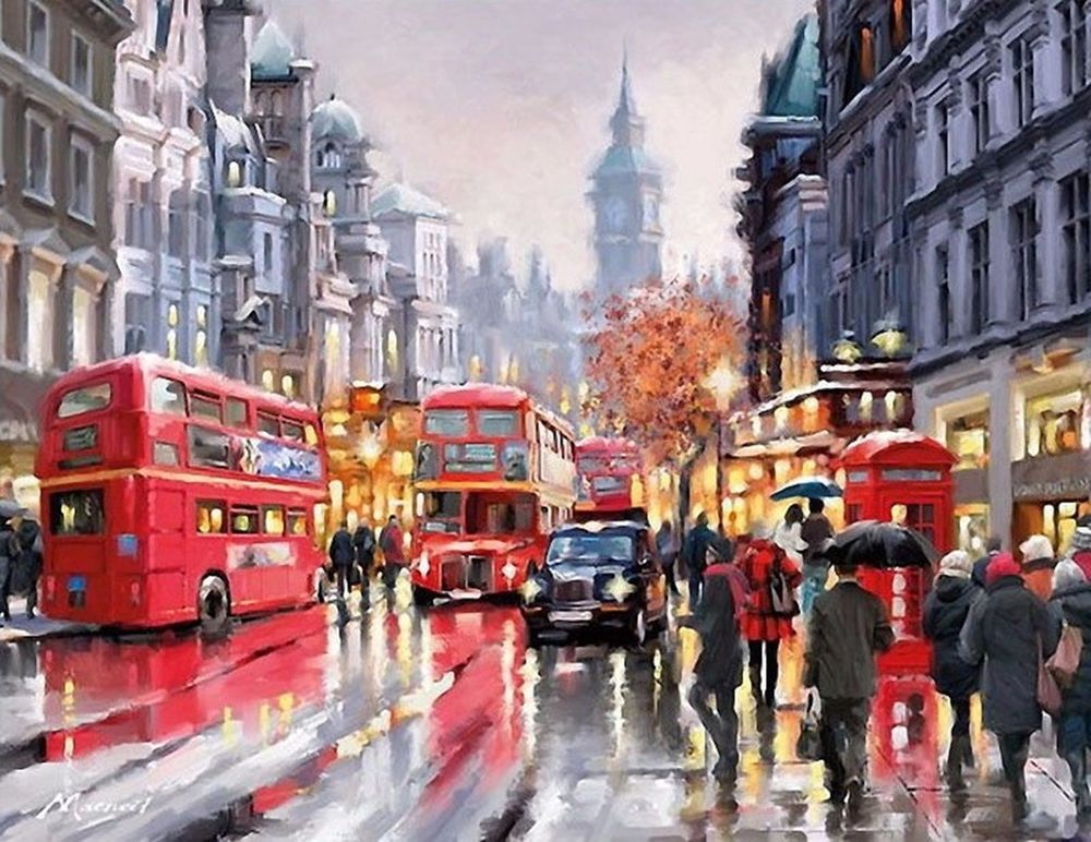 London Landscape Diy Digital Painting By Numbers Modern Wall Art Home Decor Unbranded Modern Craftsmaki Modern Wall Art Canvas Street Painting Street Scenes