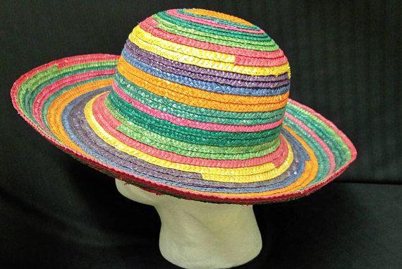 8f1d0294d10 Rainbow Straw Hat Gypsy Beach Resort Cruise Boho Wide Brim Fun Funky  Multi-Color Summer Pride LGBT Sunhat Unisex
