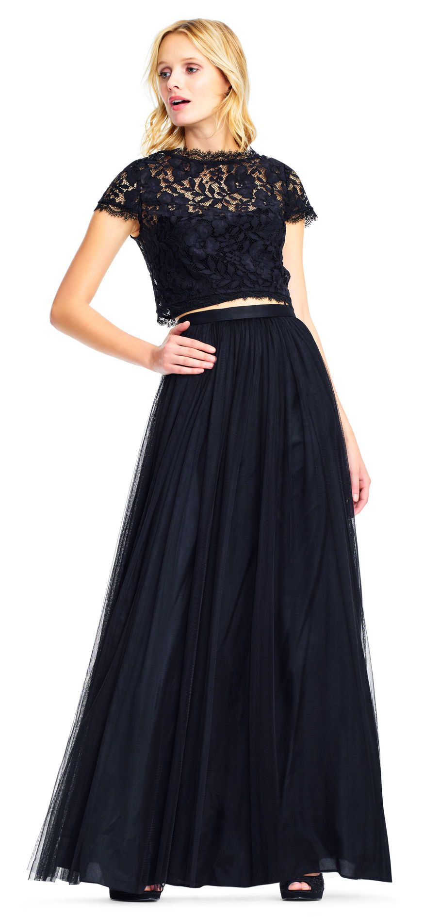 Tulle twopiece gown set with lace top gowns