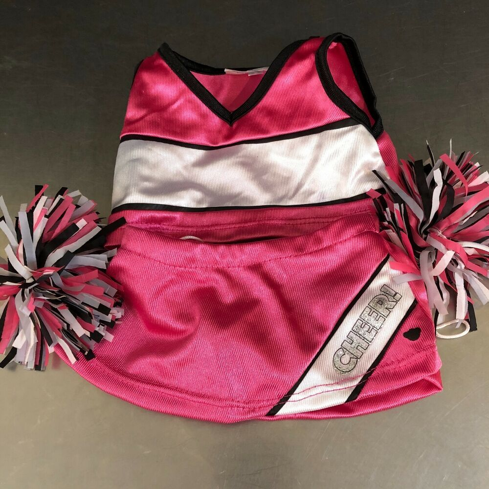 NEW *** Build A Bear Pink Cheer Set with Cheerleader Pom Poms :|: :|: